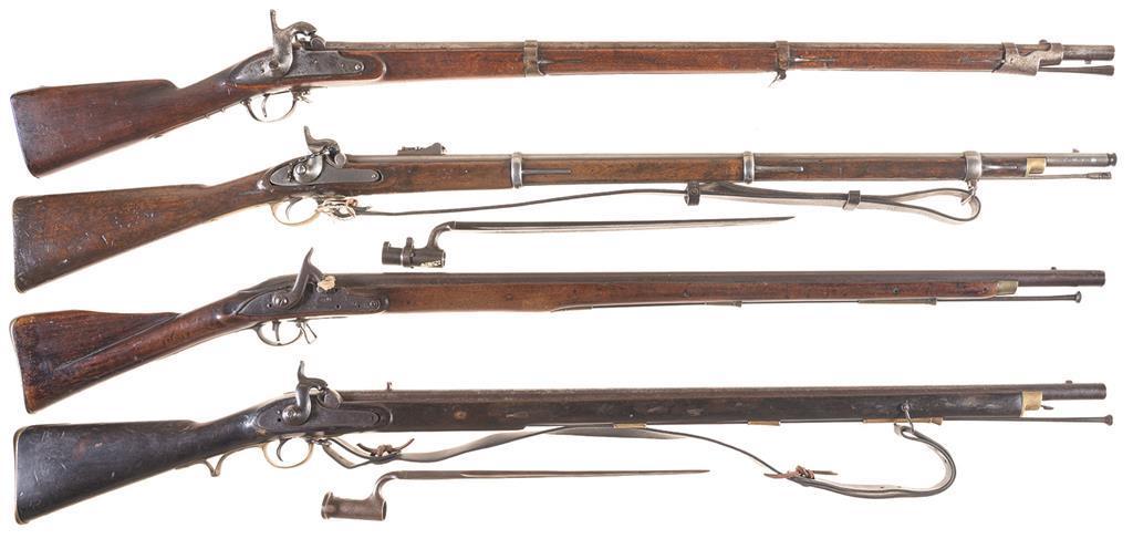 Four European Percussion Long Guns