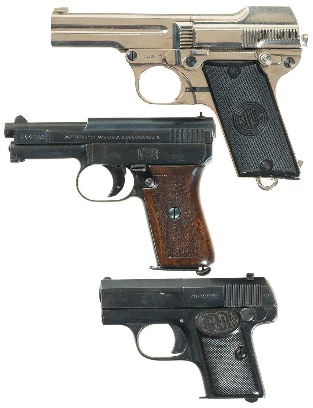 Three German Semi-Automatic Pocket Sized Pistols