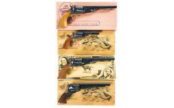 Four Replica Colt Percussion Revolvers with Boxes