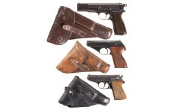 Three Nazi-Proofed Semi-Automatic Pistols with Holsters