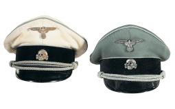 Two Waffen-SS Officer's Caps