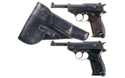 Two Walther P-38 Semi-Automatic Pistols