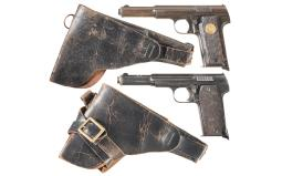 Two Spanish Semi-Automatic Pistols with Holsters