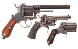 Three Belgian Double Action Pinfire Revolvers