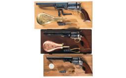 Three Cased Replica Percussion Revolvers with Accessories