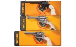 Three Ruger Single Action Revolvers with Boxes
