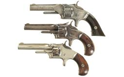 Three Smith & Wesson Antique Tip-Up Revolvers