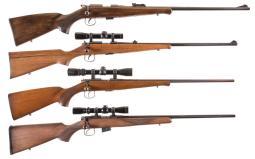Four CZ Brno Sporting Bolt Action Rifles