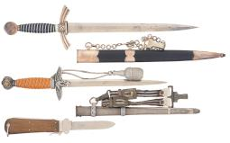 Two Luftwaffe Officer's Daggers - Fallschirmjaeger Style  Knife