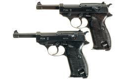 Two German Military Semi-Automatic P-38 Pistols