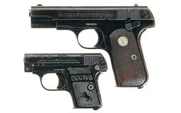 Two Colt Pocket Hammerless Semi-Automatic Pistols