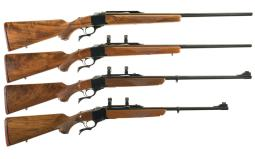 Four Ruger No. 1 Single Shot Falling Block Rifles