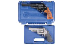 Two Smith & Wesson Double Action Revolvers with Cases