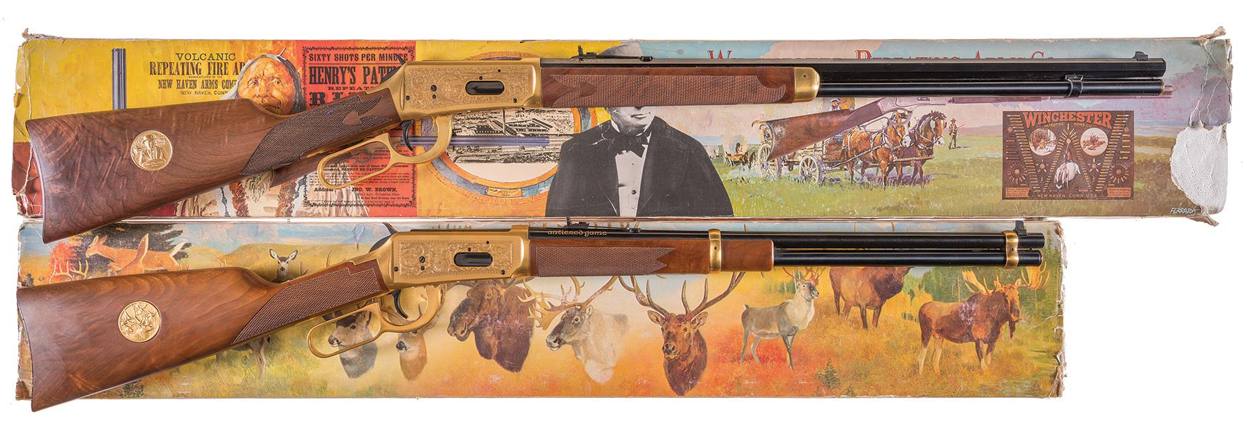 Two Winchester Model 94 Commemorative Lever Action Long Guns
