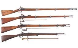 Four Antique European Percussion Long Guns