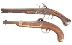 Two Antique Black Powder Pistols