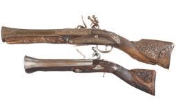 Pair of Ornate Ottoman Style Flintlock Dag Blunderbuss Pistols