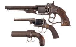 Three Antique Percussion Revolvers