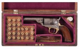 Cased Engraved Colt 3 1/2 Inch Round Barrel Pocket Revolver