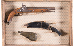 Framed Unmarked Percussion Pistol with Kukri and Powder Flask