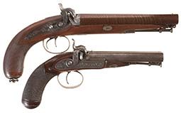 Two Engraved John Blissett Double Barrel Percussion Pistols