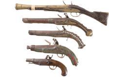 Five Muzzle Loading Pistols