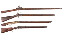 Four Antique Muzzle Loading Long Guns