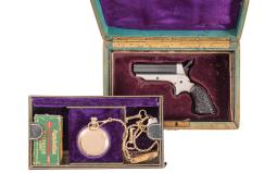 Sharps Model 1 Peppebox Pistol with Case, Watch, and Ammunition