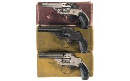 Three Smith & Wesson .32 Safety Hammerless Double Action Revolve