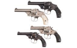 Four Smith & Wesson Double Action Top-Break Revolvers