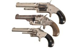 Three Antique Smith & Wesson Spur Trigger Revolvers