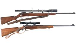 Two Winchester Bolt Action Rifles with Scopes