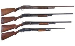 Four Marlin Slide Action Shotguns