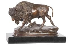 Alfred Dubucand Standing Bronze Bison Statue