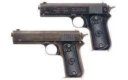 Two Colt Model 1903 Pocket Hammer Pistols
