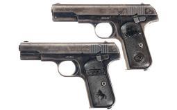 Two Colt Model 1903 Pocket Hammerless Pistols