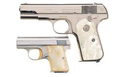 Two Semi-Automatic Pocket Pistols with Case