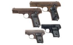 Four Colt Hammerless Semi-Automatic Pistols
