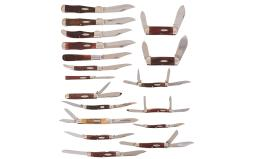 Eighteen Folding Pocket Knives in Two Cases