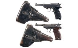 Two German Military P-38 Semi-Automatic Pistols with Holsters