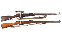 Two Soviet Mosin-Nagant Bolt Action Sniper Rifles with Scopes