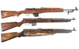 Three Semi-Automatic Longarms with Bayonets