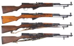 Four Chinese SKS Semi-Automatic Carbines with Bayonets