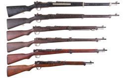 Six World War II Japanese Bolt Action Longarms