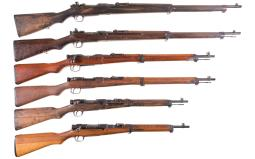 Six Bolt Action Japanese Military Longarms