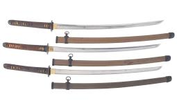 Three Signed Showa Era Japanese Swords with Type 98 Mounts