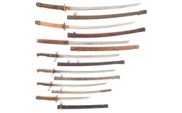 Seven Japanese Style Swords, One Signed