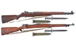 Two U.S. Military Rifles with Bayonets