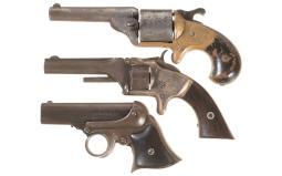 Three Antique American Catridge Handguns