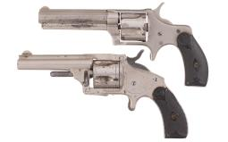 Two Antique Spur Trigger Revolvers